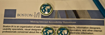Boston-IA logo and World Usability Day buttons.